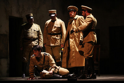 Adam Diegel (center) as Don José in The Glimmerglass Festival's 2011 production of Bizet's Carmen. Photo: Julieta Cervantes.