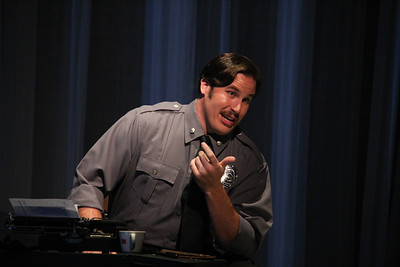 Jeffrey Gwaltney as Officer Christopher Snow in the world-premiere production of A Blizzard On Marblehead Neck. Photo: William M. Brown.