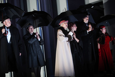 L to R: Jake Gardner as Ronaldo Cabral, Andrew Stenson as Jimmy O'Keefe, Patricia Schuman as Estelle Oglethorpe, Andrea Carroll as Rose Segal, Neal Ferreira as Sheldon Segal and Andrea Arias Martin as Elaine O'Neill in The Glimmerglass Festival's production of Later the Same Evening. Photo: Julieta Cervantes.