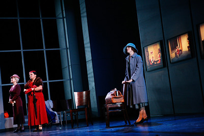 L to R: Patricia Schuman as Estelle Oglethorpe, Andrea Arias Martin as Elaine O'Neill and Carin Gilfry as Thelma Yablonski in The Glimmerglass Festival's production of Later the Same Evening. Photo: Julieta Cervantes.
