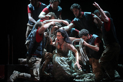 Alexandra Deshorties as Medea with the Argonauts in The Glimmerglass Festival's 2011 production of Cherubini's Medea. Photo: Julieta Cervantes.