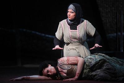 Alexandra Deshorties as Medea with Young Artist Sarah Larsen as Neris in The Glimmerglass Festival's 2011 production of Cherubini's Medea. Photo: Julieta Cervantes.