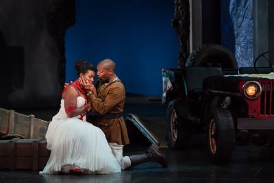 Michelle Johnson as Aida and Noah Stewart as Radamès in The Glimmerglass Festival production of Aida. Photo: Karli Cadel/The Glimmerglass Festival.