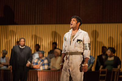 Sean Panikkar as The Leader in The Glimmerglass Festival production of Kurt Weill and Maxwell Anderson's Lost in the Stars. Photo: Karli Cadel/The Glimmerglass Festival.