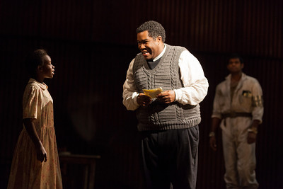 L to R: Ensemble member Chebet Too, Eric Owens as Stephen Kumalo and Sean Panikkar as The Leader in The Glimmerglass Festival production of Kurt Weill and Maxwell Anderson's Lost in the Stars. Photo: Karli Cadel/The Glimmerglass Festival.