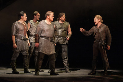 L to R: Wayne Hu as Sir Sagramore, ensemble member Danny Lindgren, Clay Hilley as Sir Dinaden, Noel Bouley as Sir Lionel and Jack Noseworthy as Mordred. Photo: Karli Cadel/The Glimmerglass Festival.