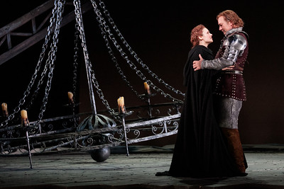 Andriana Chuchman as Guenevere and David Pittsinger as King Arthur in The Glimmerglass Festival's 2013 production of Camelot. Photo: Karli Cadel/The Glimmerglass Festival.