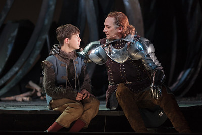 Richard Pittsinger as Tom of Warwick and David Pittsinger as King Arthur in The Glimmerglass Festival's production of Camelot. Photo: Karli Cadel/The Glimmerglass Festival.