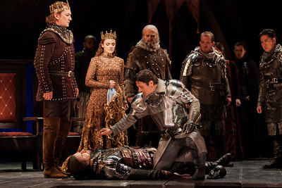 L to R: David Pittsinger as King Arthur, Andriana Chuchman as Guenevere, Wynn Harmon as Pellinore, Clay Hilley as Sir Dinaden, Wayne Hu as Sir Sagramore, Nathan Gunn as Sir Lancelot and Noel Bouley as Sir Lionel. Photo: Karli Cadel/The Glimmerglass Festival.