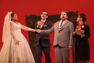 L to R: Jacqueline Echols as Giulietta, Jason Hardy as Baron Kelbar, Andrew Wilkowske as La Rocca and ensemble member Sharin Apostolou in The Glimmerglass Festival's 2013 production of Verdi's King for a Day. Photo: Karli Cadel/The Glimmerglass Festival.