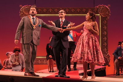 L to R: Andrew Wilkowske as La Rocca, Jason Hardy as Baron Kelbar and Jacqueline Echols as Giulietta in The Glimmerglass Festival's 2013 production of Verdi's King for a Day. Photo: Karli Cadel/The Glimmerglass Festival.