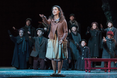 Victoria Munro with the children's chorus in The Glimmerglass Festival's 2013 production of David Lang's the little match girl passion. Photo: Karli Cadel/The Glimmerglass Festival.