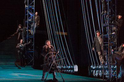 Peter Volpe as Daland (center) with members of the chorus in The Glimmerglass Festival's 2013 production of Wagner's The Flying Dutchman. Photo: Karli Cadel/The Glimmerglass Festival.