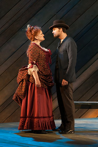 """Rebecca Finnegan as Mrs. Mullin and Ryan McKinny as Billy Bigelow in The Glimmerglass Festival's 2014 production of Rodgers and Hammerstein's """"Carousel."""" Photo: Karli Cadel/The Glimmerglass Festival."""