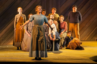 """Sharin Apostolou as Carrie Pipperidge and members of the ensemble in in The Glimmerglass Festival's 2014 production of Rodgers and Hammerstein's """"Carousel."""" Photo: Karli Cadel/The Glimmerglass Festival."""