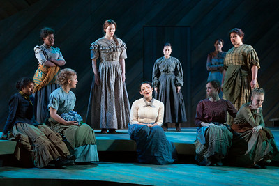 """Andrea Carroll as Julie Jordan (center) and members of the ensemble in The Glimmerglass Festival's 2014 production of Rodgers and Hammerstein's """"Carousel."""" Photo: Karli Cadel/The Glimmerglass Festival."""