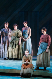 """Jeni Houser as Arminy (center) with members of the ensemble in The Glimmerglass Festival's 2014 production of Rodgers and Hammerstein's """"Carousel."""" Photo: Karli Cadel/The Glimmerglass Festival."""