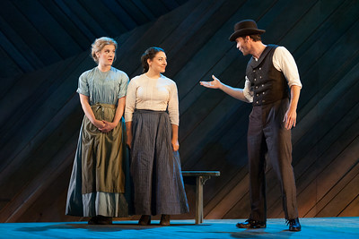"""Sharin Apostolou as Carrie Pipperidge, Andrea Carroll as Julie Jordan and Ryan McKinny as Billy Bigelow in The Glimmerglass Festival's 2014 production of Rodgers and Hammerstein's """"Carousel."""" Photo: Karli Cadel/The Glimmerglass Festival."""