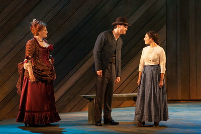 """L to R: Rebecca Finnegan as Mrs. Mullin, Ryan McKinny as Billy Bigelow and Andrea Carroll as Julie Jordan in The Glimmerglass Festival's 2014 production of Rodgers and Hammerstein's """"Carousel."""" Photo: Karli Cadel/The Glimmerglass Festival."""