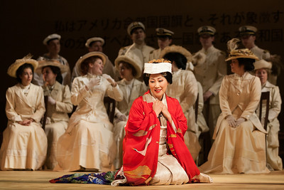 "Yunah Lee as Cio-Cio-San with members of the ensemble in The Glimmerglass Festival's 2014 production of Puccini's ""Madame Butterfly."" Photo: Karli Cadel/The Glimmerglass Festival."