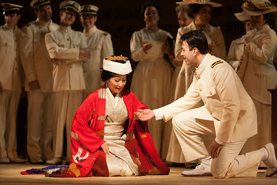 "Yunah Lee as Cio-Cio-San and Dinyar Vania as Lieutenant B.F. Pinkerton in The Glimmerglass Festival's 2014 production of Puccini's ""Madame Butterfly."" Photo: Karli Cadel/The Glimmerglass Festival."