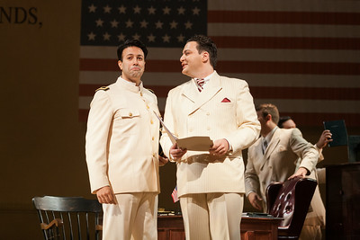 "L to R: Dinyar Vania as Lieutenant B.F. Pinkerton and Aleksey Bogdanov as Sharpless in The Glimmerglass Festival's 2014 production of ""Madame Butterfly."" Photo: Karli Cadel/The Glimmerglass Festival."