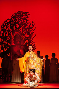 "Thomas Richards as The Bonze and Yunah Lee as Cio-Cio-San in The Glimmerglass Festival's 2014 production of ""Madame Butterfly."" Photo: Karli Cadel/The Glimmerglass Festival."