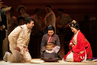 "L to R: DInyar Vania as Lieutenant B.F. Pinkerton, Kristen Choi as Suzuki and Yunah Lee as Cio-CIo-San in The Glimmerglass Festival's 2014 production of Puccini's ""Madame Butterfly."" Photo: Karli Cadel/The Glimmerglass Festival."
